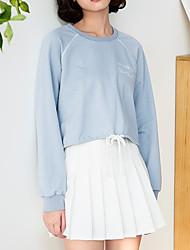 女性用 カジュアル 日常 スウェットシャツ ソリッド ラウンドネック 伸縮性なし コットン 長袖 春
