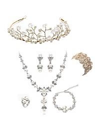 cheap -Women's Jewelry Set - Imitation Pearl, Imitation Diamond Flower European, Fashion Include Wreaths / Bridal Jewelry Sets White For Wedding / Party