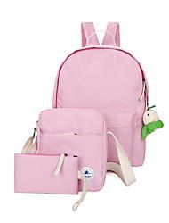 cheap -Women Bags Canvas Bag Set 3 Pcs Purse Set Zipper for Casual Outdoor All Season Sky Blue Light Green Purple Dark Blue Blushing Pink