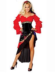 abordables -Bohemio Disfrace de Cosplay / Ropa de Fiesta Mujer Halloween / Carnaval / Oktoberfest Festival / Celebración Disfraces de Halloween Rojo