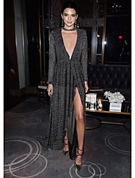 abordables -Femme Ample Robe - Imprimé Taille Haute Col en V Maxi