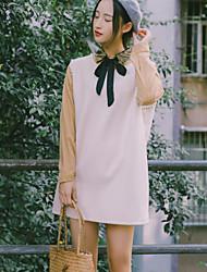 Недорогие -Жен. Хлопок А-силуэт Платье - Контрастных цветов Вырез под горло Выше колена