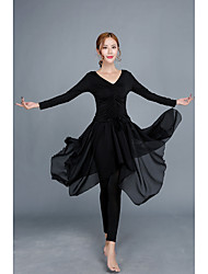 cheap -Latin Dance Outfits Women's Performance Spandex Ruffles Long Sleeves Natural Skirts Top