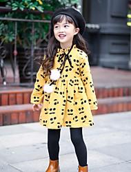 abordables -Robe Fille de Ecole Couleur Pleine Soie Printemps Manches longues simple Marron Rose Claire Jaune