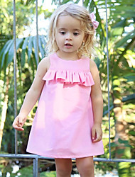 cheap -Baby Girls' Simple / Vintage Solid Colored Sleeveless Wool / Cotton / Linen Dress / Bamboo Fiber / Toddler