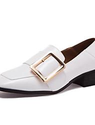 preiswerte -Damen Schuhe PU Herbst Komfort Loafers & Slip-Ons Blockabsatz Geschlossene Spitze Quadratischer Zeh für Draussen Weiß Schwarz Kamel