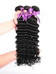 Недорогие -3 Связки Бразильские волосы Крупные кудри Натуральные волосы Человека ткет Волосы / Накладки из натуральных волос Ткет человеческих волос Расширения человеческих волос