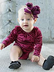 abordables -bébé Une-Pièce Fille Quotidien Couleur Pleine Coton Lin Fibre de bambou Acrylique Printemps Manches courtes simple Rétro Violet