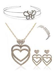 preiswerte -Damen Strass Diamantimitate Schmetterling / Herz Schmuck-Set Körperschmuck / 1 Halskette / 1 Ring - Modisch / Europäisch Gold