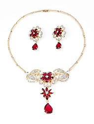 cheap -Women's Gold Plated Bohemian Jewelry Set 1 Necklace / Earrings - Bohemian / Fashion Dark Red Jewelry Set / Bridal Jewelry Sets For