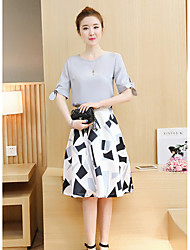 cheap -Women's Going out Simple Cross-Seasons Blouse Skirt Suits,Solid Round Neck Half Sleeves Cotton Polyester