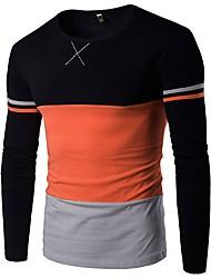 economico -T-shirt - Taglie forti Per uomo Monocolore Rotonda - Cotone