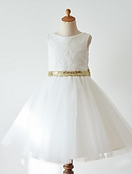 cheap -Ball Gown Knee Length Flower Girl Dress - Lace Tulle Sleeveless Jewel Neck with Bow(s) by LAN TING Express