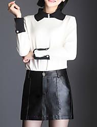 cheap -Women's Daily Above Knee Skirts,Casual A Line Linen Print Autumn/Fall