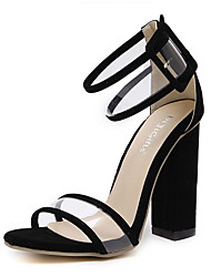cheap -Women's Shoes Synthetic Microfiber PU Spring Summer Slingback Basic Pump Ankle Strap Sandals Chunky Heel Open Toe Hollow-out for Dress