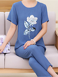 cheap -Women's Suits Pajamas,Sexy Floral Cotton Linen Light Blue Fuchsia Blushing Pink Blue