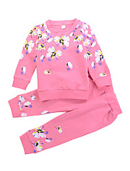 cheap -Girls' Daily Solid Floral Clothing Set, Modal Spring Fall Long Sleeves Seperate Bodies Casual Fuchsia Light gray Lavender