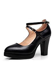 preiswerte -Damen Schuhe Mikrofaser Frühling Herbst Pumps High Heels Blockabsatz Schnalle für Kleid Party & Festivität Schwarz
