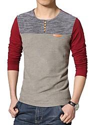 economico -T-shirt Collage, Monocolore Rotonda - Cotone