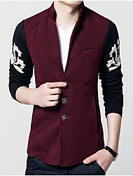 cheap -Men's Daily Chinoiserie Fall Blazer,Color Block Shirt Collar Long Sleeve Regular Polyester Oversized