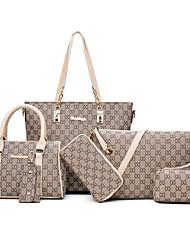economico -Donna Sacchetti PU (Poliuretano) sacchetto regola Set di borsa da 6 pezzi Cerniera per Casual Inverno Autunno Blu Oro Nero Rosso Beige