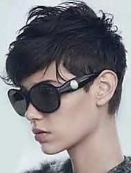baratos -Perucas de cabelo capless do cabelo humano Cabelo Humano Ondulado Natural Corte em Camadas Com Franjas Parte lateral Curto Fabrico à