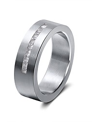 cheap -Men's Women's Band Rings Cubic Zirconia Korean Elegant Stainless Steel Zircon Jewelry Birthday Gift