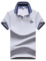 economico -T-shirt Per uomo Tinta unita Colletto - Cotone