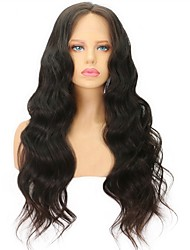 cheap -Virgin Human Hair Lace Front Wig Brazilian Hair Wavy With Baby Hair 130% Density Glueless Natural Hairline Black Short Long Mid Length