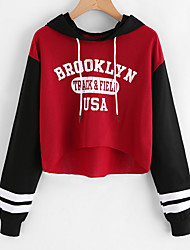 cheap -Women's Daily Hoodie Print Letter Hooded Micro-elastic Polyester Long Sleeve Spring