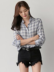 cheap -Women's Going out Vintage Shirt,Check Shirt Collar Long Sleeve Cotton