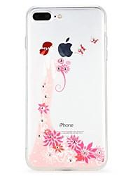 baratos -Capinha Para Apple iPhone 7 iPhone 6 Com Strass Com Relevo Capa Traseira Desenho Animado Torre Eiffel Flor Macia TPU para iPhone 8 Plus