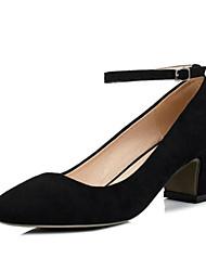 preiswerte -Damen Schuhe Vlies Sommer Komfort High Heels Blockabsatz Geschlossene Spitze für Draussen Schwarz Grau Purpur Grün Rosa