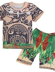 Недорогие -Мальчики Набор одежды Повседневные Шерсть Хлопок Бамбуковая ткань Однотонный Весна С короткими рукавами Простой Винтаж Хаки
