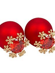 abordables -Mujer Copo de Nieve Zirconio Pendientes cortos - Simple Rojo / Verde / Azul Forma de Círculo Aretes Para Navidad / Regalo