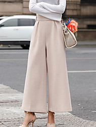 cheap -Women's Cotton Wide Leg Pants - Solid Colored / Winter / Holiday