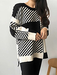 cheap -Women's Long Sleeves Pullover - Color Block