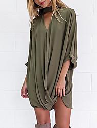 cheap -Women's Polyester Shirt - Solid V Neck