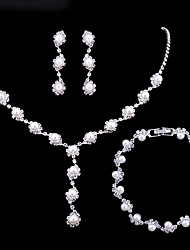cheap -Women's Rhinestone Imitation Pearl Flower Jewelry Set 1 Necklace / 1 Bracelet / Earrings - Elegant / Fashion / European Silver Jewelry Set