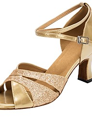 cheap -Women's Latin Glitter Faux Leather Sandal Heel Professional Customized Heel Gold Customizable