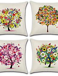 cheap -4 pcs Cotton/Linen Pillow Cover, Floral Botanical Bohemian Style