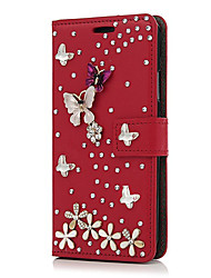 cheap -Case For Apple iPhone X iPhone 8 Plus Card Holder Rhinestone with Stand Full Body Cases Flower Hard PU Leather for iPhone X iPhone 8 Plus