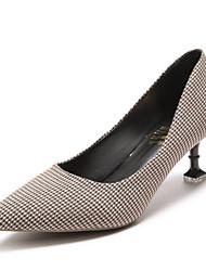 cheap -Women's Shoes PU Spring Fall Comfort Heels High Heel for Black Khaki