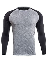 preiswerte -Herrn Laufshirt Langarm Dehnbar Sweatshirt / T-shirt für Übung & Fitness / Laufen Polyester Grau / Dark Gray / Raue Schwarz XXL / XXXL /