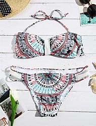abordables -Femme Imprimé Licou Bikinis Maillots de Bain Rubans Arc-en-ciel