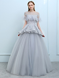 economico -Da ballo Con decorazione gioiello Lungo Tulle Graduazione Serata formale Vestito con Perline Con Piume / in pelliccia Di pizzo di SG