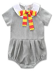 abordables -bébé Une-Pièce Fille Quotidien Sports Couleur Pleine Coton Polyester Eté Manches courtes simple Décontracté Gris