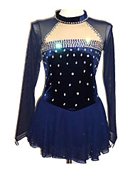 cheap -Figure Skating Dress Women's / Girls' Ice Skating Dress Dark Blue Spandex Stretchy Skating Wear Sequin Long Sleeve Ice Skating