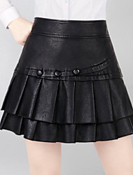 preiswerte -Damen Einfach Alltag Kurz / Mini Röcke A-Linie, PU Solide Frühling