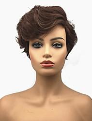 Недорогие -Парики из искусственных волос Афро Стрижка под мальчика Искусственные волосы Боковая часть Коричневый Парик Жен. Короткие Парик из